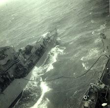 Photo: USS Wisconsin's refueling - Scotland on Midshipman cruise USS Wisconsin 1953