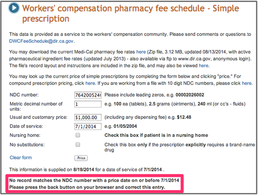 DWC Workers' Compensation Pharmacy Fee Schedule Calculator
