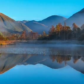 Hausdal by Espen Rune Grimseid - Landscapes Waterscapes ( mountains, reflections, nature, norway, hausdal, lake, bergen, mist, landscape, fog, canon )