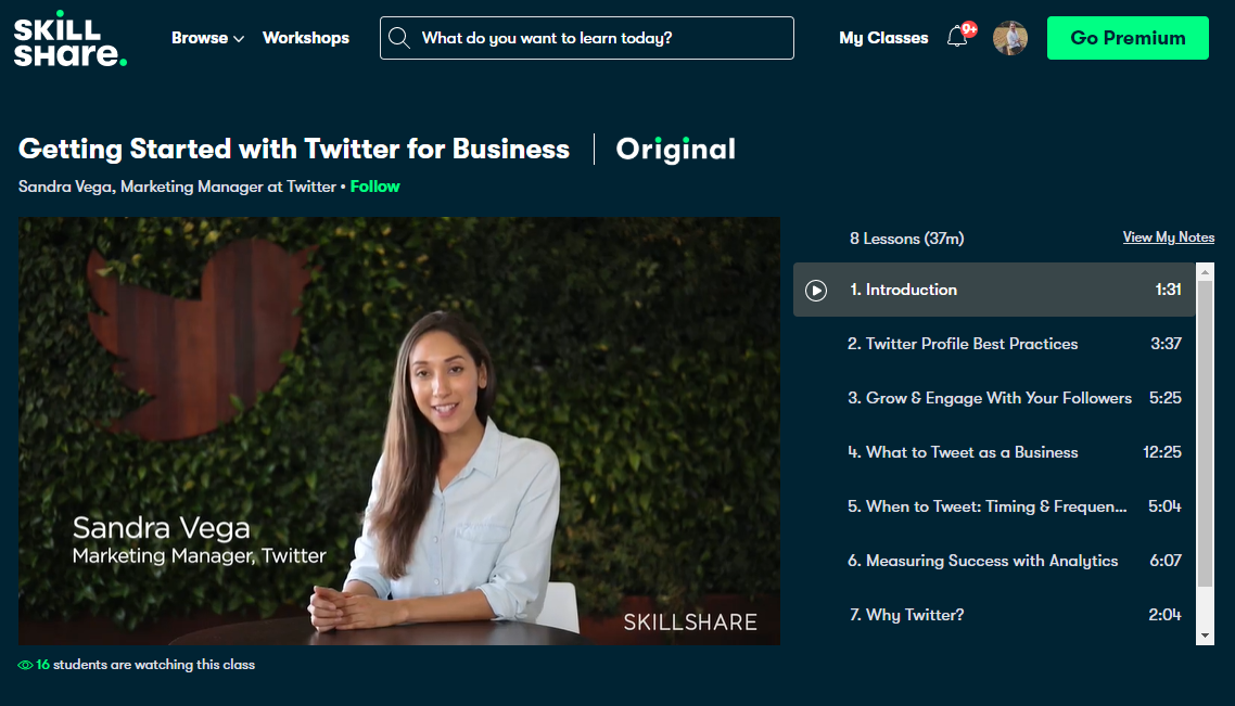 Twitter for business marketing course