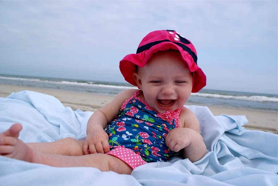 Giggles on the beach by Lauren Beasley - Babies & Children Children Candids ( giggling, beach, baby )