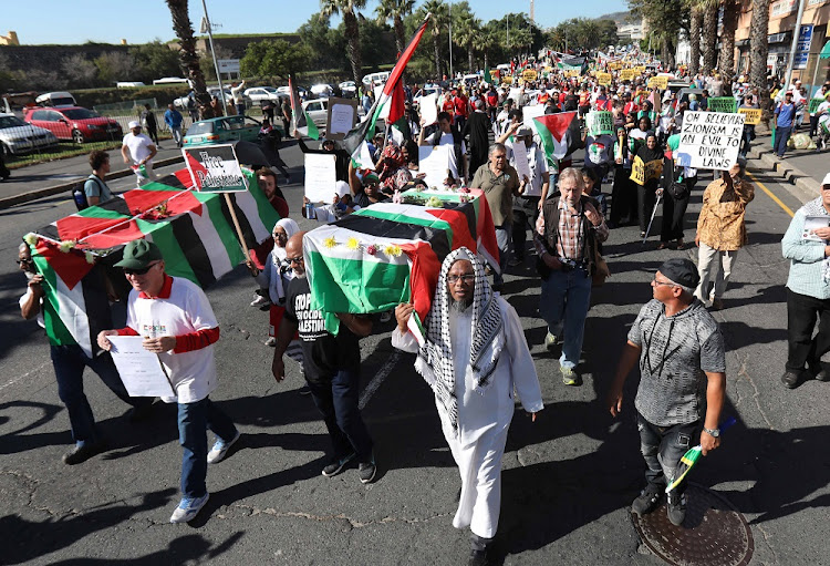 The Muslim Judicial Council marched with thousands of supporters to Parliament in support of Palestine, calling for Israel's ambassador to South Africa to be expelled.