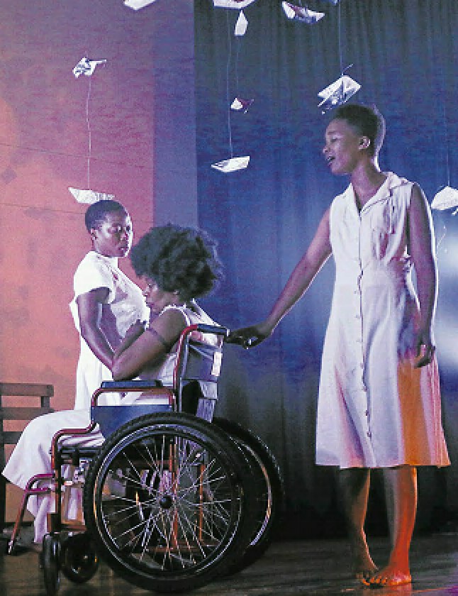 The cast of 'OoMaSisulu', from left, Chuma Sopotela, Faniswa Yisa and Indalo Stofile in a scene from the play