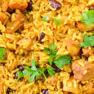 One Skillet Caribbean Curry Chicken Red Beans and Rice Recipe