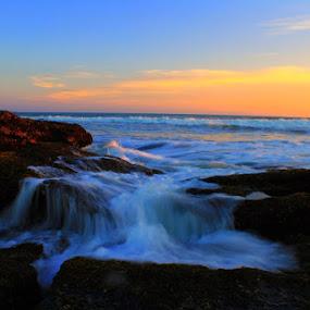 by Adi Sumardika - Landscapes Sunsets & Sunrises ( sunset, wave, beach, rocks )