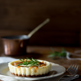 Goat Cheese Cheesecake with Rosemary Caramel.