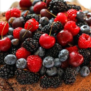 Single Layer Chocolate Cake with Fresh Berries.