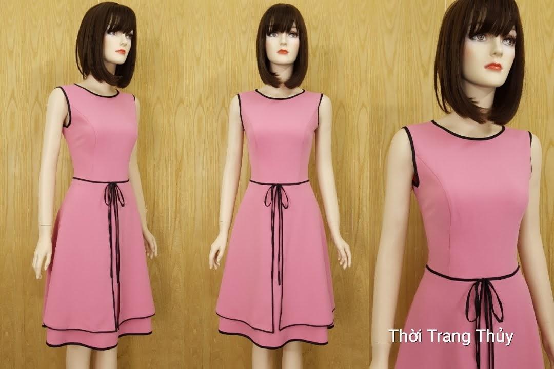 Váy xòe hai tà thắt nơ eo màu hồng V594 Hải Phòng