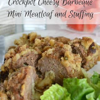 Crockpot Cheesy Barbeque Mini Meatloaf and Stuffing