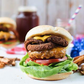 Cheddar Onion Ring Burgers