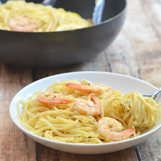Lemon Butter Garlic Shrimp Pasta.