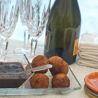 Duck Confit Arancini with Cherry Port Dipping Sauce.