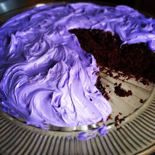 Dark Chocolate Lavender Cake with Lavender Buttercream Frosting.