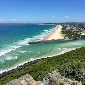 South to Coolangatta, Australia by Di Mc - Instagram & Mobile iPhone ( burleigh, blue, gold coast, green, australia, ocean, beach )