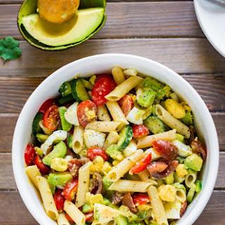 Deviled Egg Pasta Salad with Avocado.