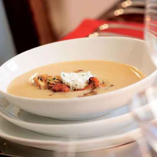 White Bean Soup with Wild Mushrooms & Chive Mascarpone