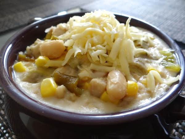 A Flavorful White Chicken Chili With Corn, Roasted Green Chiles, And Chihuahua Cheese And No Flour Added!