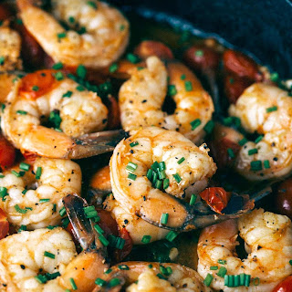 Jumbo Spicy Garlic Shrimp and Tomato Skillet