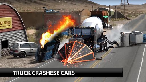 Loaded truck crash engine damage simulator