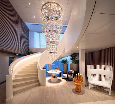 The eye-catching lobby of the Spa on Celebrity Edge.