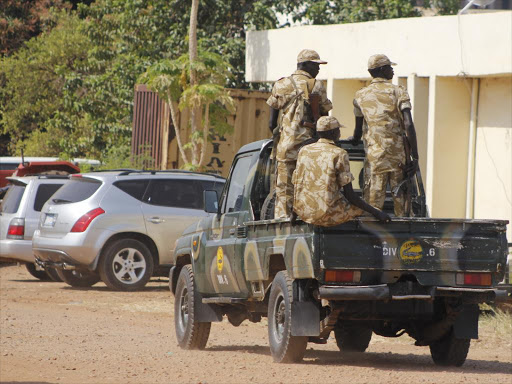 A file photo of South Sudan soldiers during a patrol at Juba International Airport amid escalating fighting outside the capital.