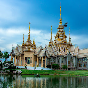 Temple. by Ariya Namwong - Buildings & Architecture Places of Worship ( water, bird, temple, thailand, worship, shadows )