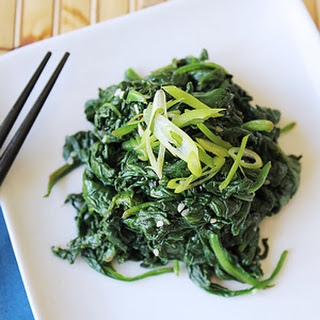 Goma-ae Okazu   Japanese Spinach Salad with Teriyaki Salmon