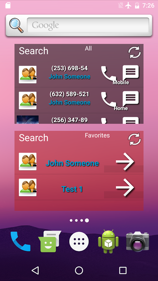 Contacts in a list widget-Paid- screenshot