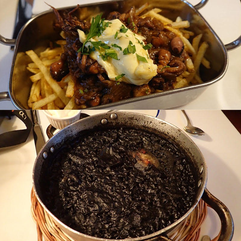 Appetizer with Octopus and Squid Ink Paella at Les Quinze Nits (Barcelona, Spain)