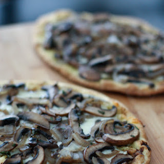 Grilled Baby Portabella Pesto Flatbread Pizza