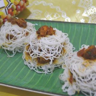 Steamed Prawn Stuffed Idiyappam NoolPuttu Sevai.