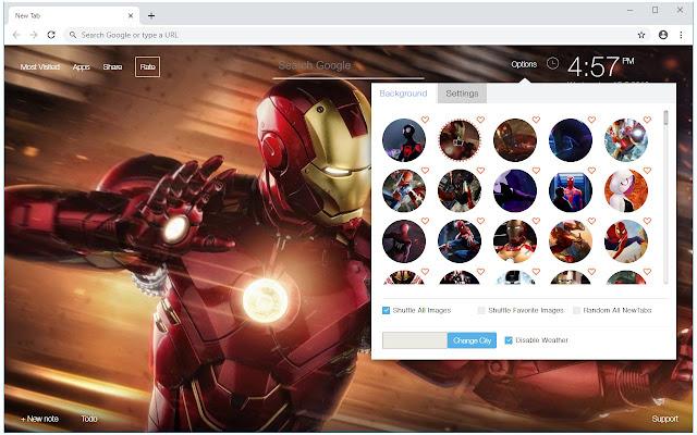 Spiderman & Iron Man Wallpaper Custom New Tab