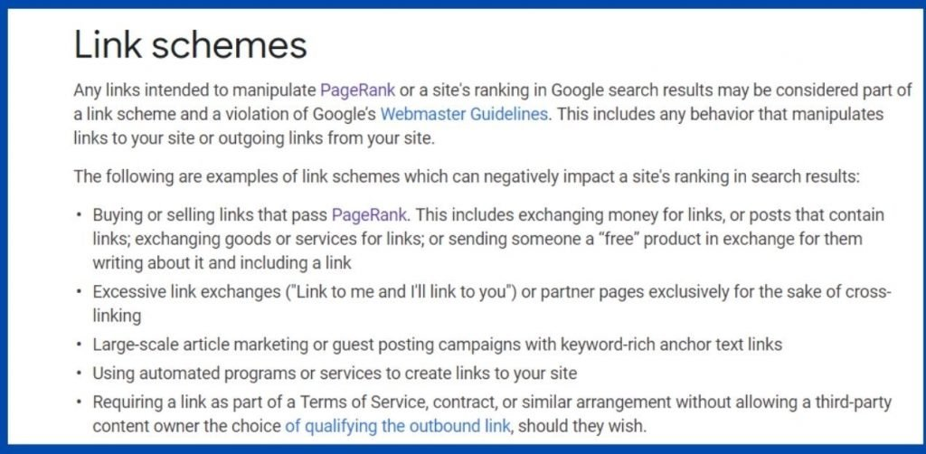 google guidelines for quality backlink building