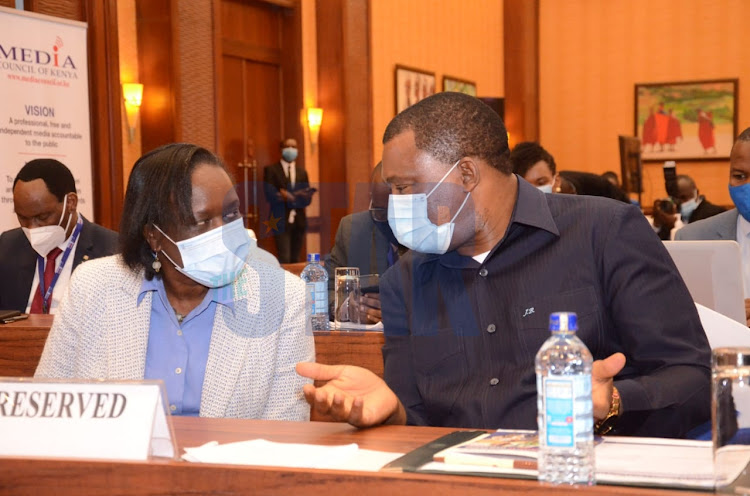 ICT PS Esther Koimmet and National Assembly Speaker Justin Muturi during the commemoration of World Press Freedom Day at Serena Hotel on May 3, 2021.