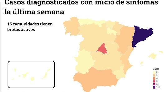 Mapa de los rebrotes en España: Almería aparece 2 veces y Madrid suma el primero