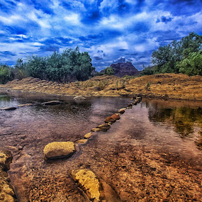 The River Runs Through by Deb Bulger - Landscapes Waterscapes ( mountains, nature, waterscape, leadinglines, bluesky, landscape, river,  )