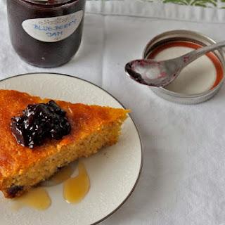 Fig Yogurt, Blueberry, and Honey Corn Skillet Cake (GF).