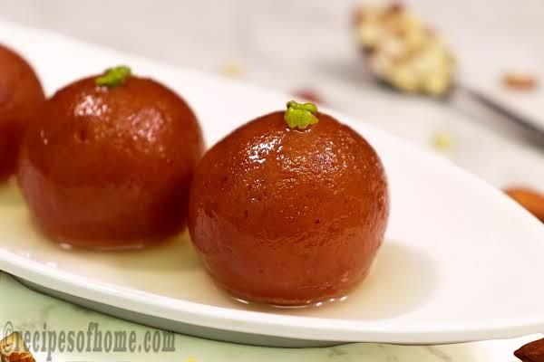 Soft Gulab Jamun Serving On White Plate