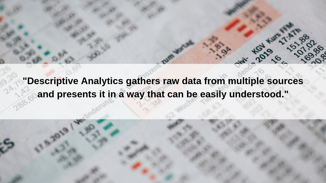 "Descriptive Analytics answers the question of ""what happened?"""