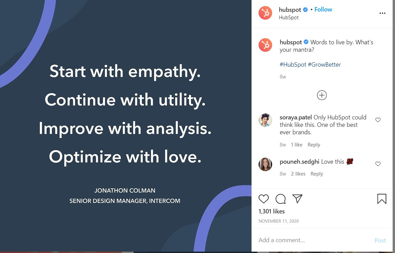 La publication Instagram de Hubspot avec une nuance émotionnelle.