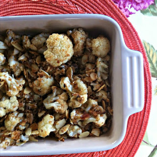 Roasted Cauliflower with Almonds and Panko Topping.