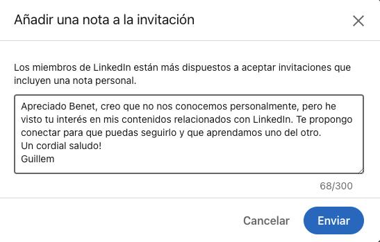 Invitació linkedin personalitzada