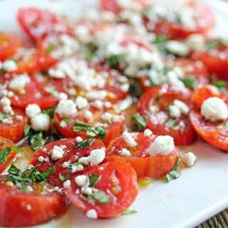 Balsamic Tomatoes with Feta and Fresh Herbs.