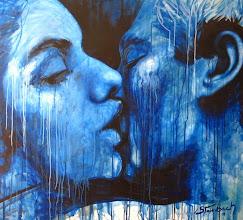 """Photo: """"Aladiah beija Hariel - Estágio Azul"""". Acrílica/duratex, 122,5x136,5 cm, 1997, Mossoró-Rn. Coleção: Absalão Marques da Fonsêca Filho, João Pessoa-Pb."""