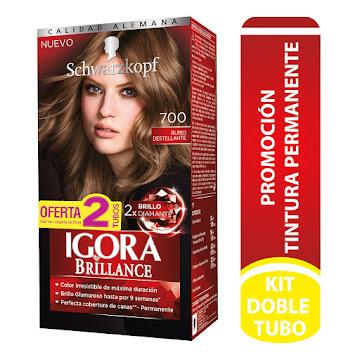 TINTE IGORA BRILLANCE PERMANENTE RUBIO DESTELLANTE 700 X50ML X2