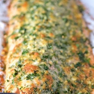 Baked Salmon with Parmesan Herb Crust.
