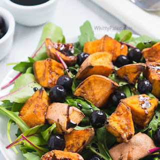 Cinnamon Roasted Sweet Potato Blueberry Salad with Balsamic Reduction
