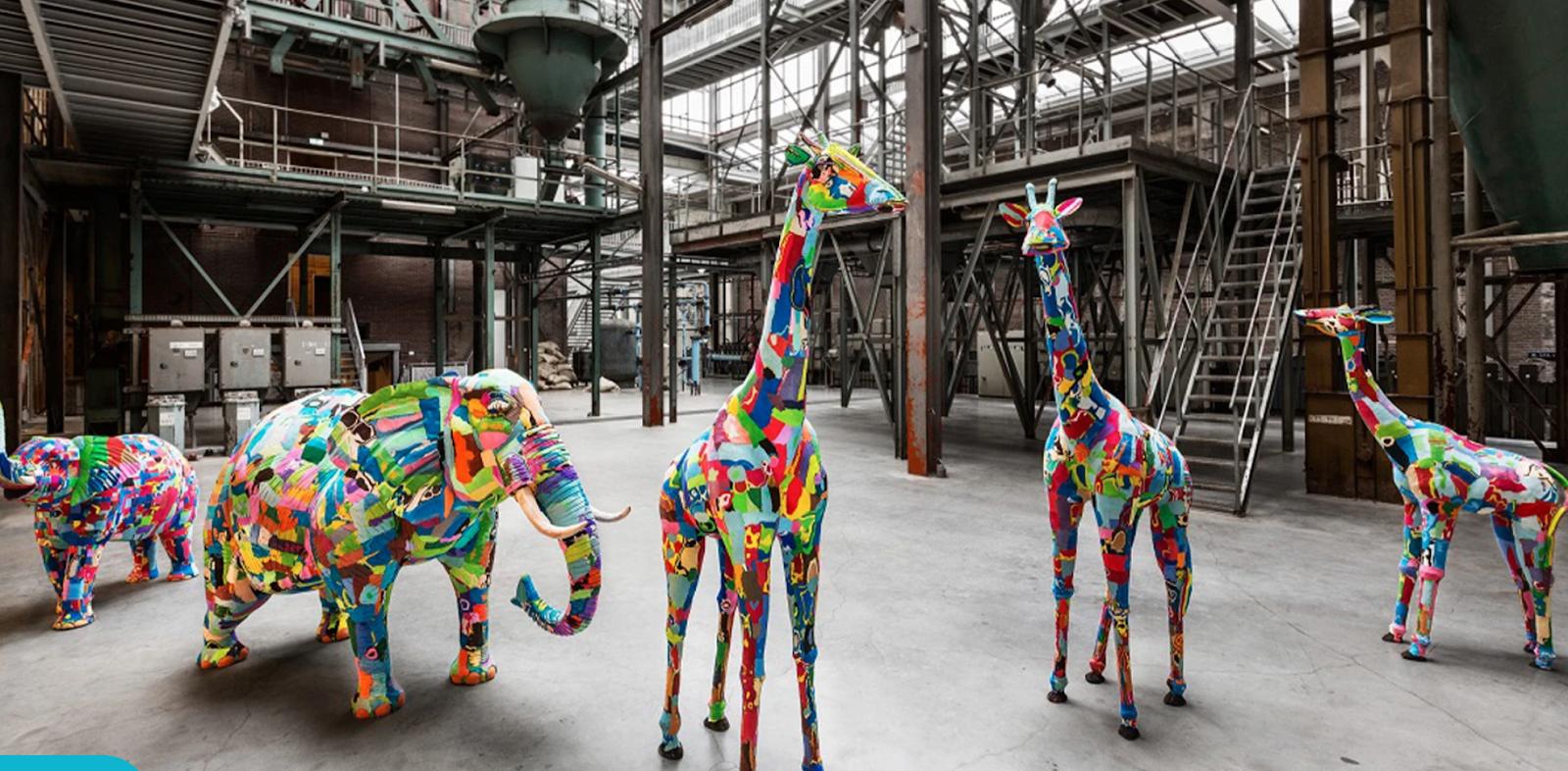 sculptures using washed up flip flops