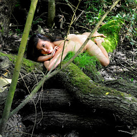 Languid Watcher by DJ Cockburn - Nudes & Boudoir Artistic Nude ( forest, woman, art nude, woodland, log, natural light, asian, cece, portrait, outdoor, chinese, model, prone, lying )