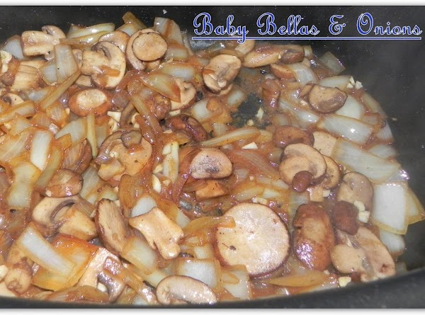 Add your delicious shrooms and diced up onions to pot with the remaining drippings...